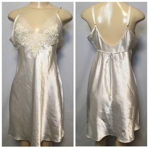 DELICATES Slip Ivory Dress Lace Sheer Nightie Sz M